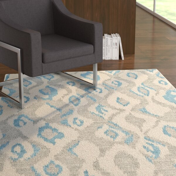 Cooper Ivory/Blue Area Rug by Ebern Designs
