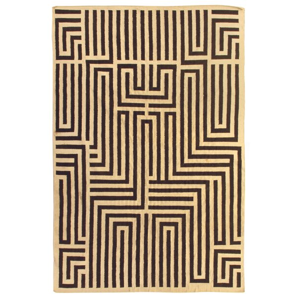 Hand-Woven Wool Brown/Ivory Area Rug by Exquisite Rugs