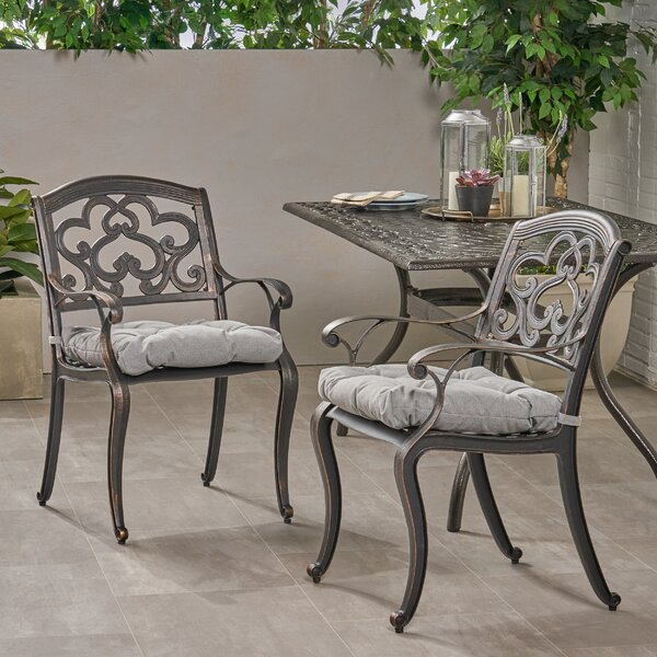 Pimental Patio Dining Chair with Cushion (Set of 2) by Fleur De Lis Living