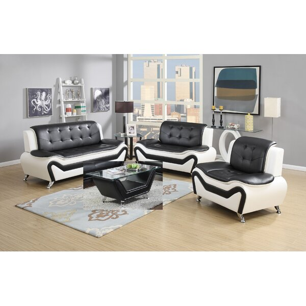 Aurelia 4 Piece Leather Standard Living Room Set (Set of 4) by Orren Ellis