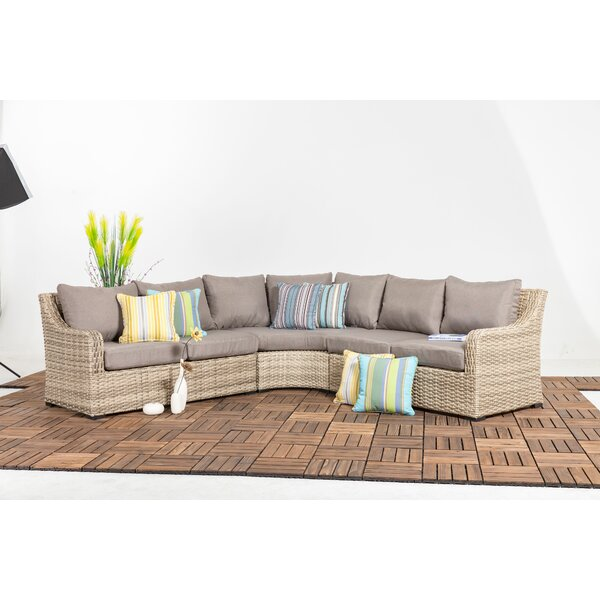 Crum 3 Piece Rattan Sectional Seating Group with Cushions by Rosecliff Heights