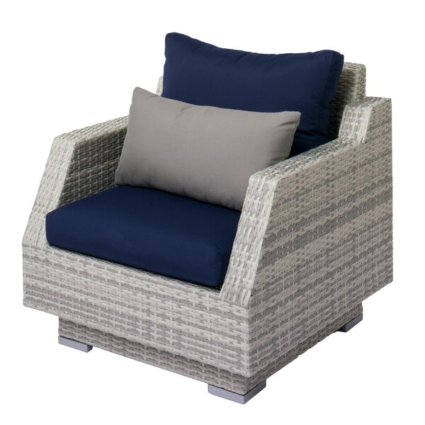 Meleri Patio Wicker Armchair with Sunbrella Cushion by Longshore Tides