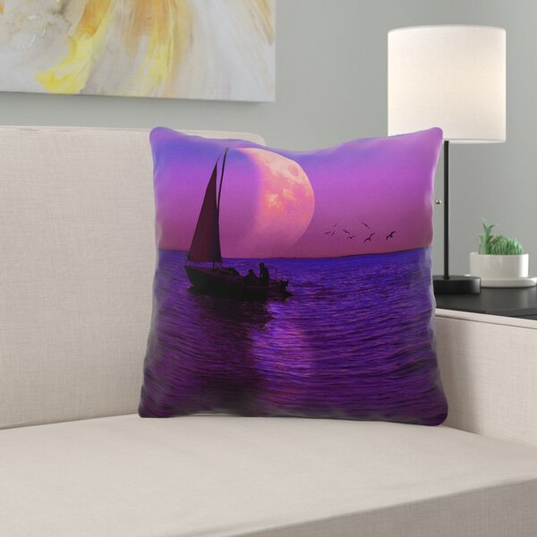 Jada Magenta Moon and Sailboat Outdoor Throw Pillow by Latitude Run
