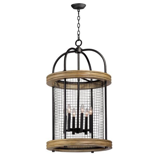 Haffey 6 - Light Shaded Drum Chandelier with Wood Accents by Williston Forge Williston Forge