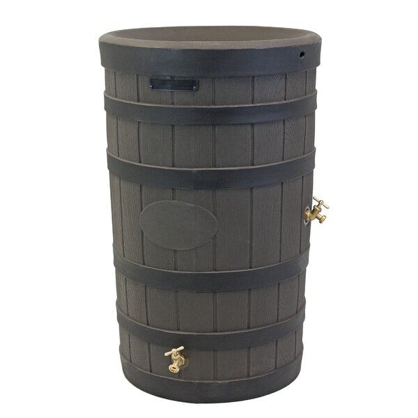 Rain Wizard 50 Gallon American Oak with Darkened Ribs Rain Barrel by Good Ideas