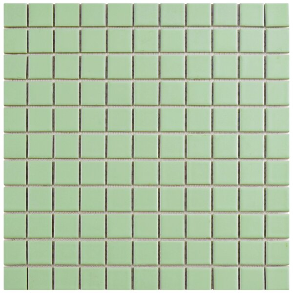 Retro 1 x 1 Porcelain Mosaic Tile in Matte Light Green by EliteTile