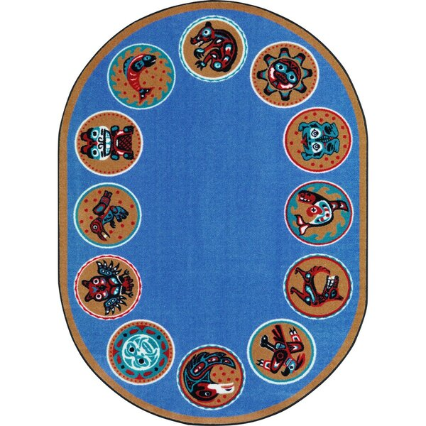 Amaratha the Circle Blue Area Rug by Zoomie Kids
