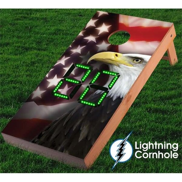 Electronic Scoring Eagle and Flag Cornhole Board by Lightning Cornhole