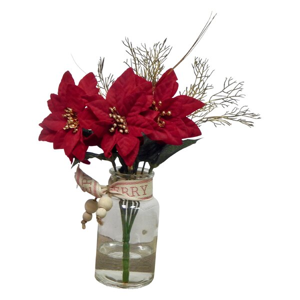 Poinsettia Floral Arrangement in Glass Vase by The Holiday Aisle