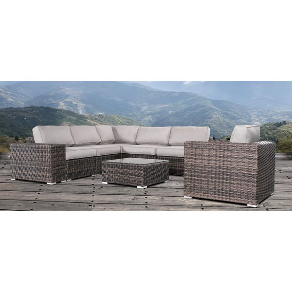 Wabbaseka Resort Grade Cup Table 3 Piece Rattan Sectional Seating Group by Sol 72 Outdoor