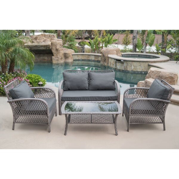 Andres 4 Piece Rattan Sofa Seating Group with Cushions by Highland Dunes