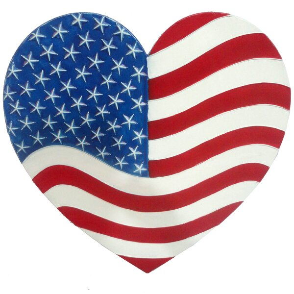 Heart American Metal 2.3 ft. x 2.3 ft Garden Flag by Desert Steel