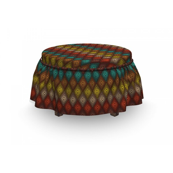 Geometric Dots 2 Piece Box Cushion Ottoman Slipcover Set By East Urban Home