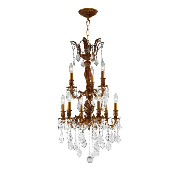 Lenora 9 - Light Candle Style Traditional Chandelier with Crystal Accents by Rosdorf Park Rosdorf Park