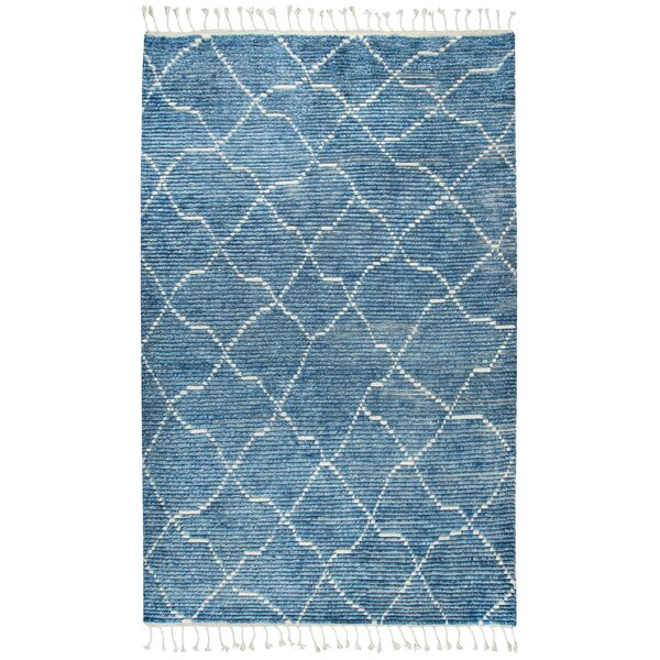 Doleman Hand-Knotted Wool Blue Area Rug by Bungalow Rose