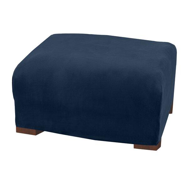 Modern Velvet Plush Strapless Oversized Ottoman Box Cushion Slipcover By Latitude Run