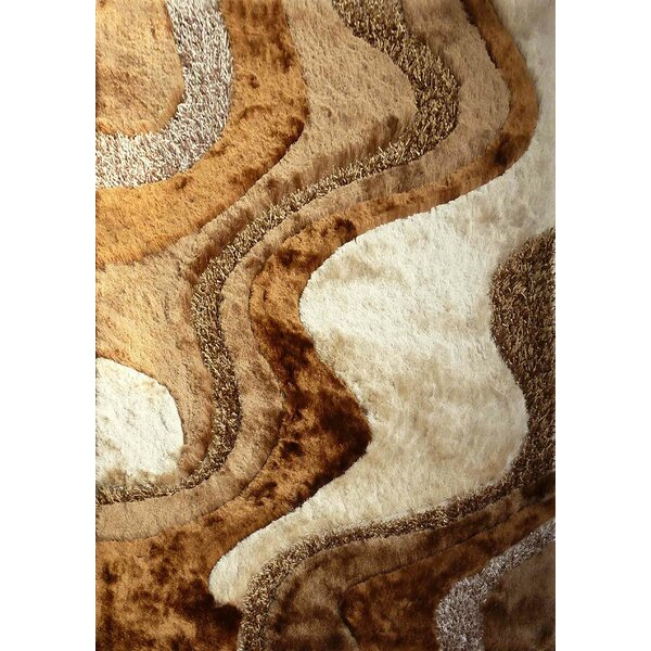 Shaggy Viscose Design Brown/Beige Area Rug by Rug Factory Plus