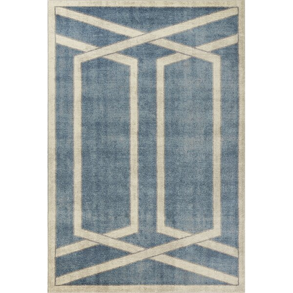 Winston Directional Border Teal Area Rug by Libby Langdon