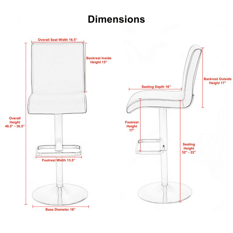 Adjule Height Swivel Bar Stool