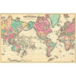 World map wallpaper wayfair colorful world map wall mural gumiabroncs Choice Image