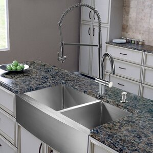VIGO 36 inch Farmhouse Apron 60/40 Double Bowl 16 Gauge Stainless Steel Kitchen Sink with Dresden Chrome Faucet, Two Grids...