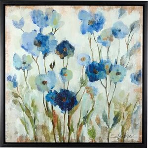 'Abstracted Floral' Framed Print in Blue by Three Posts