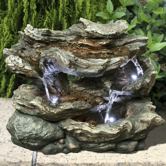 Fiber and Resin 3 Level Log Waterfall Fountain with LED Lights by Hi-Line Gift Ltd.