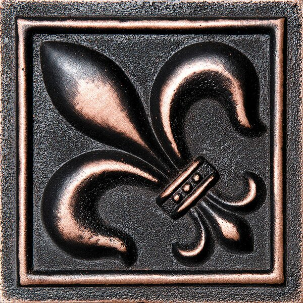 4 x 4 Fleur De Lis Deco Accent Tile in Oil Bronze by Parvatile