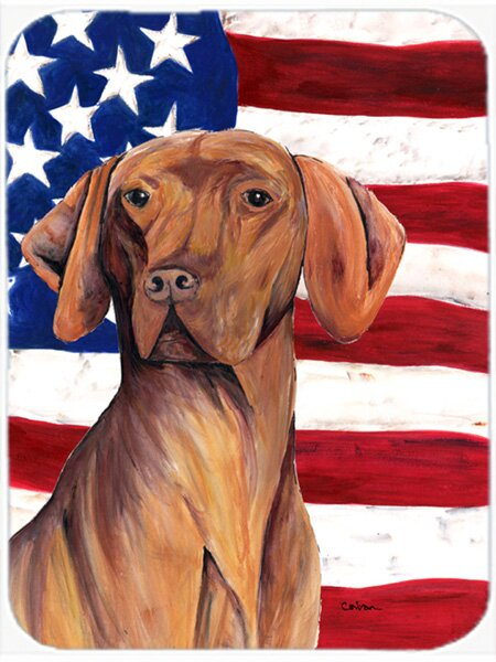 Patriotic USA American Flag with Vizsla Glass Cutting Board by Caroline's Treasures