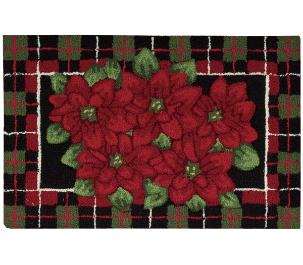 Hand Hooked Black/Green/Red Area Rug by The Holiday Aisle
