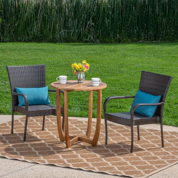 Poojari Outdoor 3 Piece Bistro Set by Red Barrel Studio