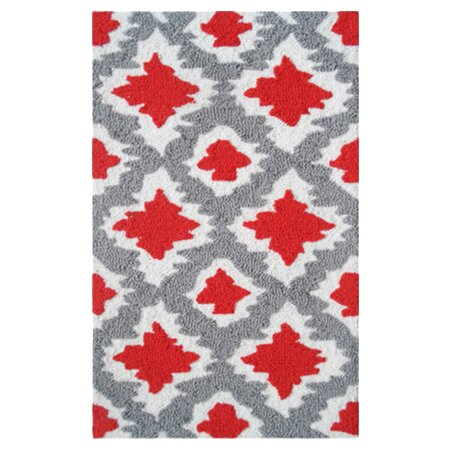 Beaumont Hand-Hooked Red/Gray Area Rug by Threadbind