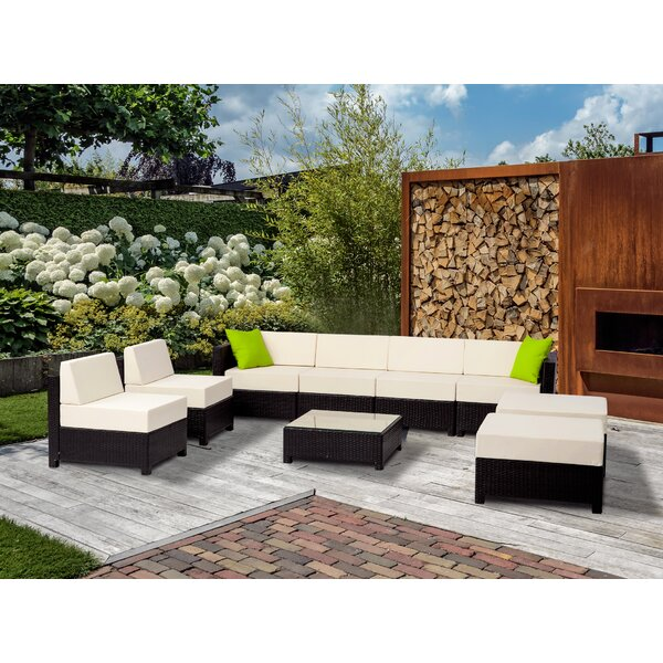 Michaelis Patio 9 Piece Rattan Sectional Seating Group with Cushions by Latitude Run