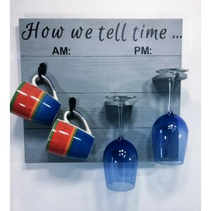 Vosburg How We tell Time Wooden Coffee/Wine Glass Rack by Varick Gallery