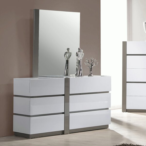 Manila 6 Drawer Double Dresser with Mirror by Chintaly Imports