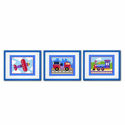 Train, Plane and Truck 3 Piece Framed Art Set by Olive Kids