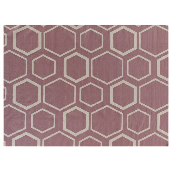 Hand-Woven Wool Pink/White Area Rug by Exquisite Rugs