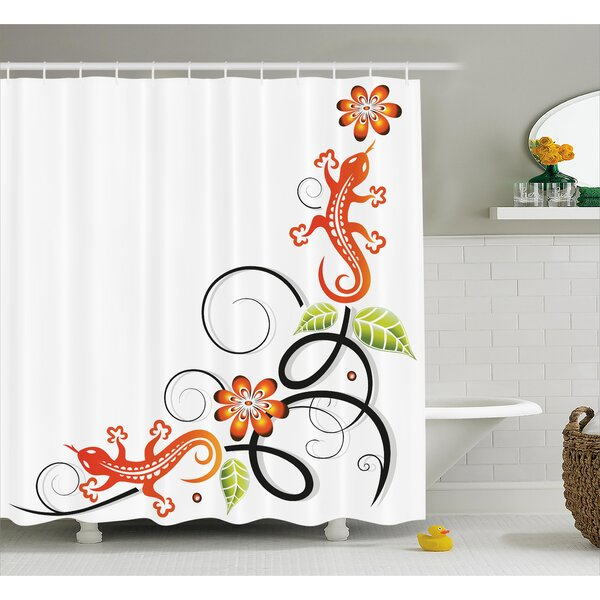 Lynette Tribal Small Baby Lizard Flowers and Leaves With Oriental Lines Print Shower Curtain by Ebern Designs