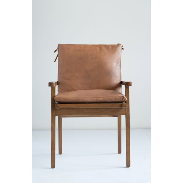 Apatow Leather & Cedar Wood Armchair by Bungalow Rose