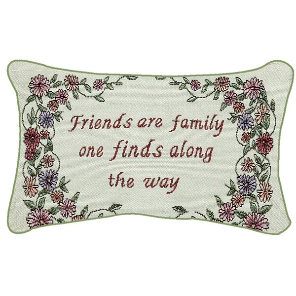 Friends are Family Word Lumbar Pillow by Manual Woodworkers & Weavers