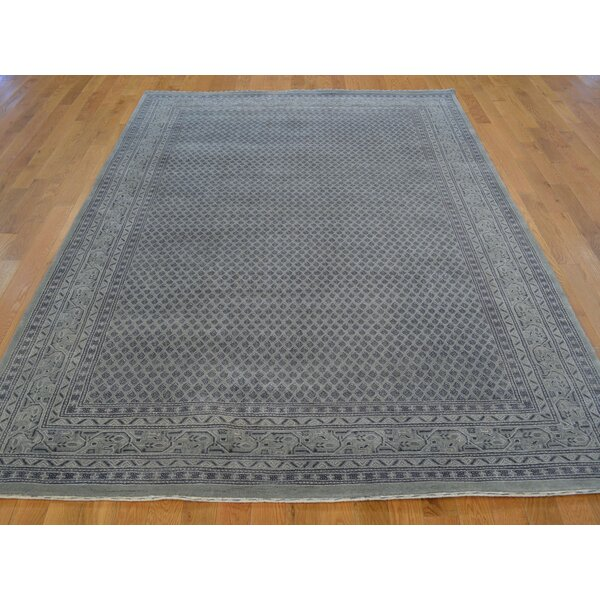 One-of-a-Kind Bellavia Silver Sarouk Hand-Knotted Grey Wool/Silk Area Rug by Isabelline