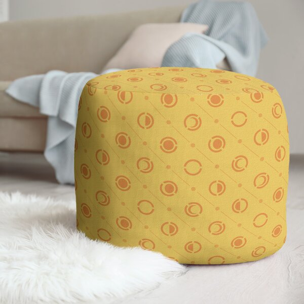 Two Color Moon Phases Pouf by East Urban Home