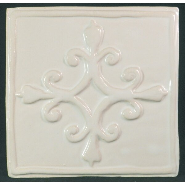 French Quarter 6 x 6 Ceramic Decorative Accent Tile in White by Clay Decor