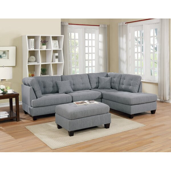 Dracaena Reversible Sectional With Ottoman By Latitude Run