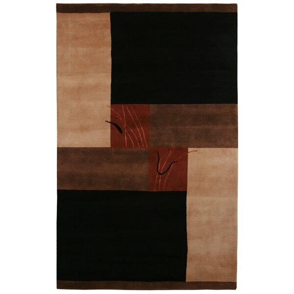 Itajai Hand-Knotted Black/Tan Area Rug by Meridian Rugmakers