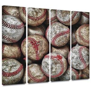 Baseballs' by Antonio Raggio 4 Piece Photographic Print on Wrapped Canvas Set by ArtWall