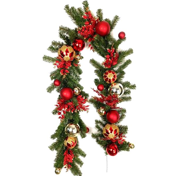 Christmas Unlit Ornaments Ball Garland by Three Posts
