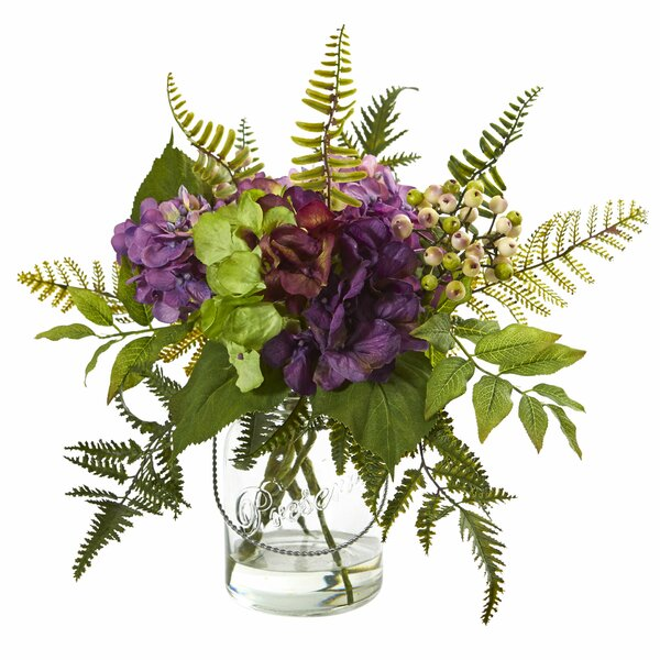 Hydrangea and Berry Artificial Floral Arrangement in Glass by Gracie Oaks