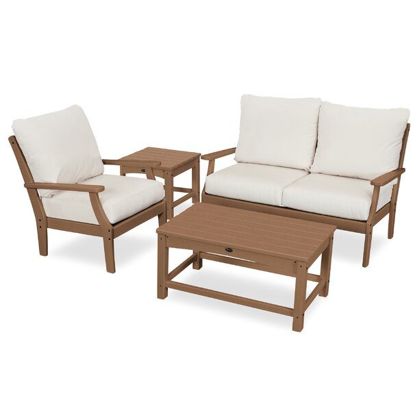 Yacht Club Deep 4 Piece Sunbrella Sofa Seating Group with Cushions by Trex Outdoor Trex Outdoor