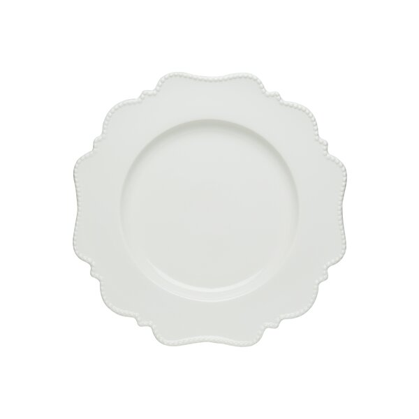 Pinpoint White Dinner Plate (Set of 4) by Red Vani